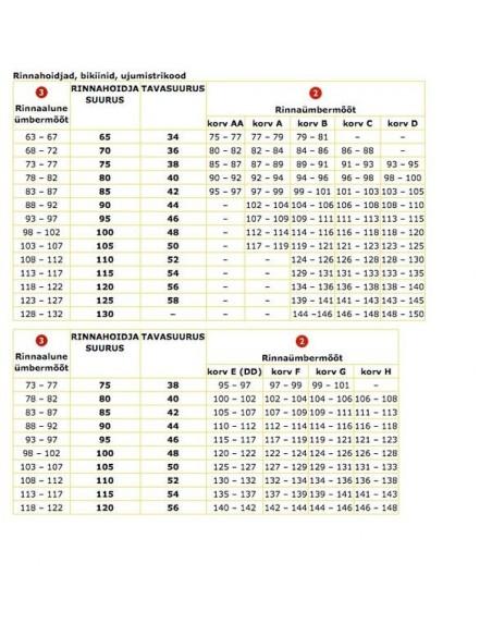 Venice Beach mustad päevitused, s. 38A/B (75A/B), 38C/D (75C/D), 40A/B (80A/B), 40C/D (80C/D), 42C/D (85C/D)